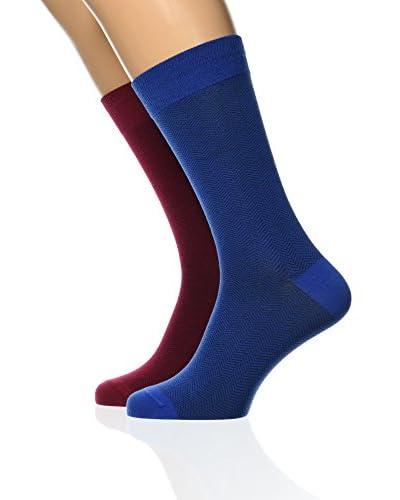 Dockers Pack x 2 Calcetines Seasonal Stripes Azul / Granate