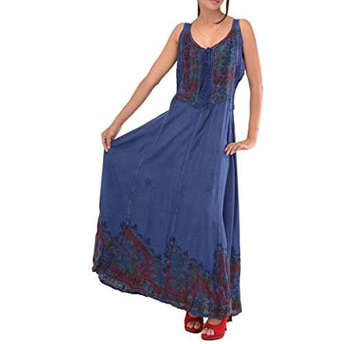Skirts & Scarves Rayon Embroidered Sleeveless Dress For Women (Blue)