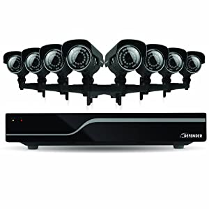 Defender 21050 Sentinel 16-Channel Smart Security DVR with 8 Ultra Hi-Resolution Outdoor Surveillance Cameras (Black)