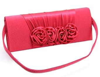 Monte Lovis - Elegante Damenhandtasche mit edler Stoffverzierung - Material: Satin - Farbe: Rosa - Verzierung: 4 wunderschöne Stoffblumen - Abnehmbare Tragekette - Praktischer Druckknopfverschluss