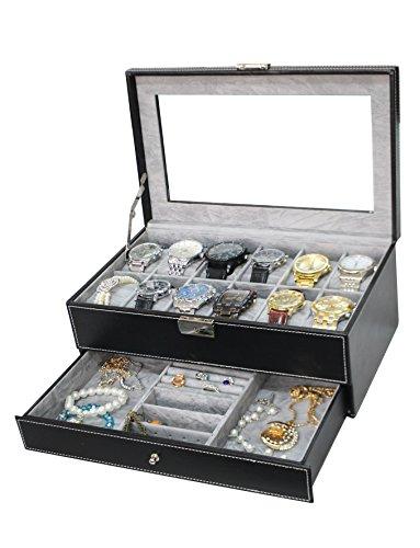 Sodynee® Watch Box Large 12 Mens Black Pu Leather