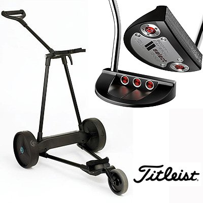 New! Emotion E3 23Lbs Pull Push Electric Motorized 3-Wheel Golf Cart Trolley + New! Titleist Scotty Cameron Select Golo Putter