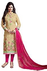 AAR VEE Beige Embroidered Dress Material