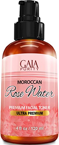 PURE Rose Water, Large 4oz (Moroccan) Made from Petals: 100% All Natural RoseWater Bottle - Best Complete Facial & Skin Toner, Hair Oil, Moisturizer and Cleanser - Makes a Great Rose Tub Tea