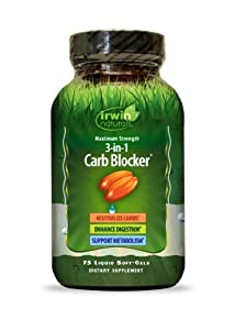 Irwin naturals Maximum Strength 3-in-1 Carb Blocker, 75-Count Bottles (Pack of 2)