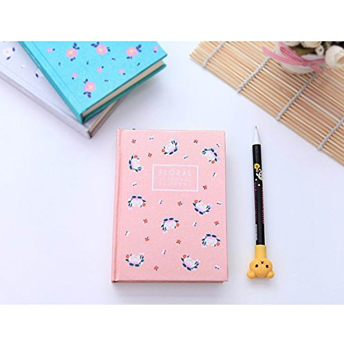 Desk Accessories - Korean Style Seasons Series Floral Clothbound Hard-Cover Notebook Pink