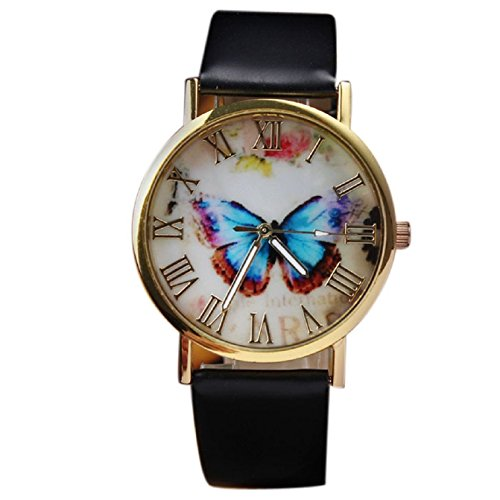 Sannysis Womens Butterfly Style Leather Watch Brown