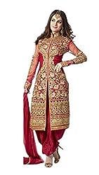 KD Enterprise Women's Designer Georgette Dress Material (Red)