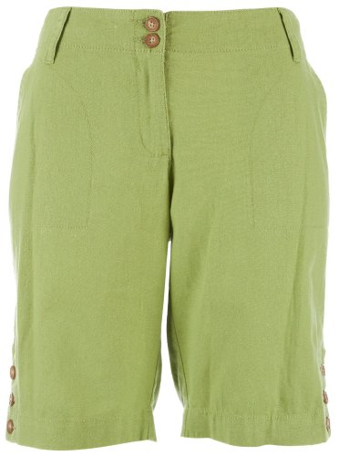 41gHQzqUEuL * Skyes The Limit Linen Button Trim Bermuda Shorts ALOE GREEN 16 Discount !!