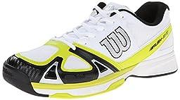 Wilson Men\'s Rush Evo Tennis Shoe, White/Solar Lime/Black, 8 M US