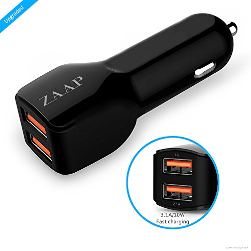 ZAAP® (USA) Two port Turbo Car charger (Premium 3.1 A/10W 2Port USB Car Charger-Smallest+Most Powerful) With Premium Finish, Fast Charging {Award winning design-Autozone-USA for Mobile Phone & other USB devices+Universal compatibility, Car accessories}. Black.