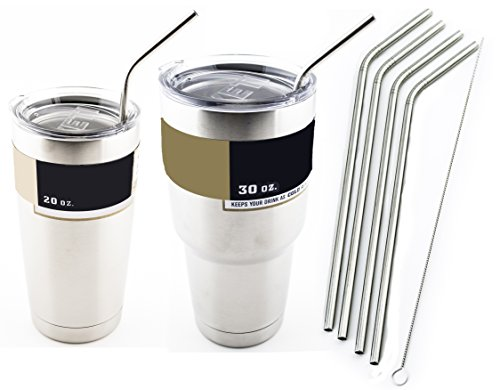 4 Bend Stainless Steel Straws Extra LONG fits 30 oz & 20 oz Yeti Tumbler Rambler Cups - CocoStraw Brand Drinking Straw