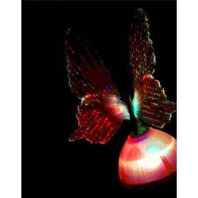 EiioX 1x Blue Fiber Optic Butterfly LED Color Changing Night Light Lamp