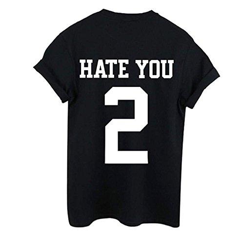 Spesa 365-Secondo le donne Hate You s 2-Maglietta da donna larga, Casual, Maglietta Jersey Varsity Top nero XL