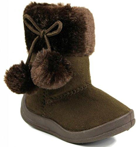 Kali Footwear Girls Bany Pom Pom Boots,Brown,6