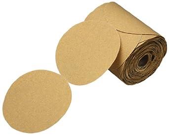 "3M  Stikit  Gold Paper Disc Roll 216U, Paper, PSA Attachment, Aluminum Oxide, 5"" Diameter, P80 Grit, Gold (Pack of 125)"