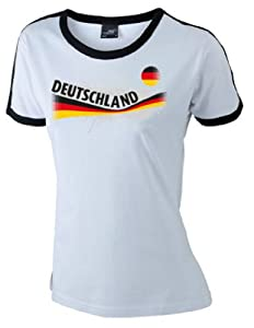 world-of-shirt Damen T-Shirt Deutschland Vintage Retro Shirt|weiß M