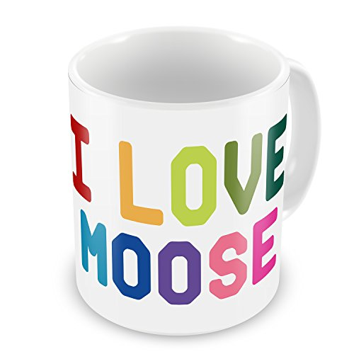 Coffee Mug I Love Moose, Colorful - Neonblond
