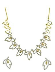 Leaf Design AD Necklace Set In Golden Silver Polish