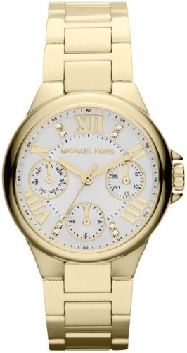 Michael Kors Mini Camille GMT White Dial Gold-Tone