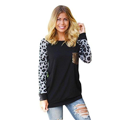 t-shirt, FEITONG camicia casual stampata leopardo top t-shirt (XL, Nero)