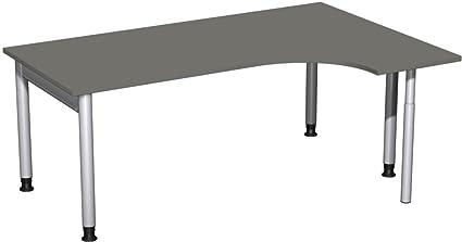 PC della scrivania destro regolabile in altezza, 1800X 1200X 680-820, grafite/Argento, Gera Mobili