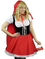 Yummy Bee Little Red Riding Hood Costume + Stockings Plus Size 6 - 18 Fancy Dress