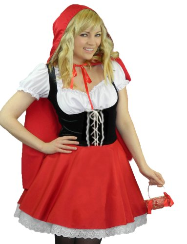 Yummy Bee Little Red Riding Hood Costume + Stockings Plus Size 2-14 Womens Cosplay