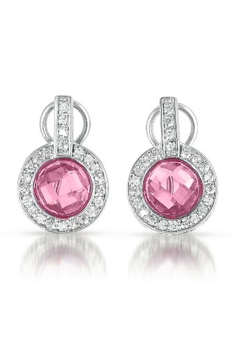 C.Z. Pink Sapphire Diamond Sterling Silver Circle Earrings