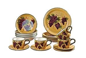 16 pc Dinnerware Set, Dinner Set Tuscany Grape Wine Decor