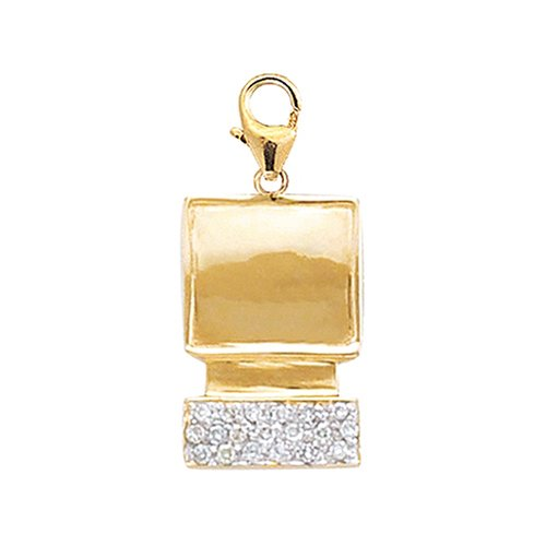 14k Gold Diamond Computer Charm (1/10 cttw)