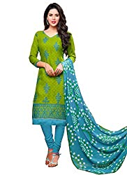 Fabfirki Exclusive Latest Arrival Green And Blue Dress Material