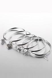 Diamanté Assorted Charm Bangle Set [T06-4010i-S]