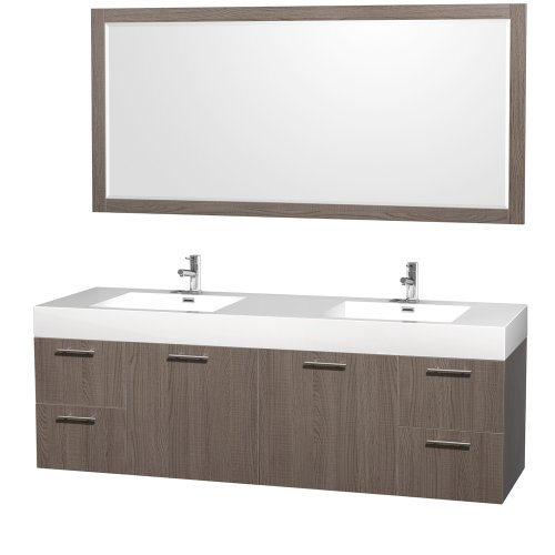 Amare Double Bathroom Vanity In Grey Oak With Acrylic-Resin Top And Integrated Sinks