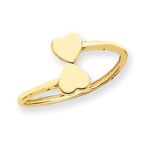 14k Gold Double Heart Toe Ring