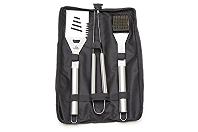 Memorial Day Sale - Premium BBQ Grilling Tools Set - Heavy Duty 430 Stainless Steel Barbecue Set - Professional Grade Grill Tools over 16 Inches Long - 3 Piece Grilling Tools Set includes Spatula Tongs Wire Brush & Carrying Case - Barbecue Grill Set by At