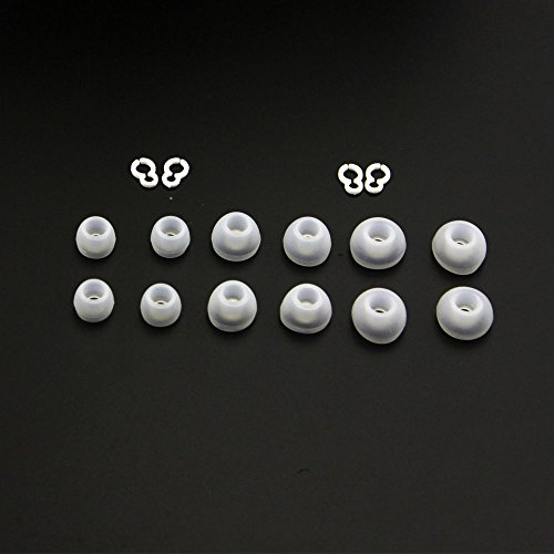 B2Shop 3 Sizes 6 Pairs (12 Pieces) Replacement Clear Earbuds Tips Ear Gels Bud Cushions & 2 Pairs (4 Pieces) Replacement Plastic Hooks For Lg Tone Hbs-700 Hbs-730 Hbs-740 Hb-800 Bluetooth Stereo Headset front-160228