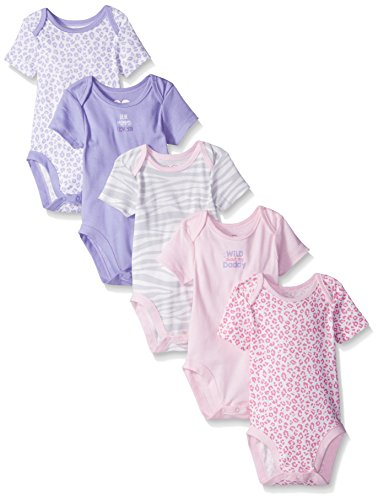 The Children's Place Baby Animal Bodysuit (Pack of 5), Pale Lavender, 0-3 Months