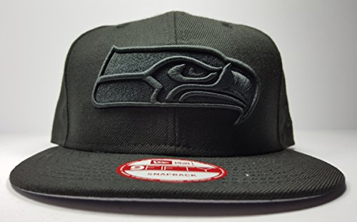 New Era Seattle Seahawks 9Fifty Black & Black Logo Adjustable Snapback Hat NFL (Custom Seahawks Hat compare prices)