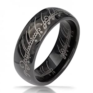 Bling Jewelry Lord of The Rings Style Polished Black & Silver Tungsten Ring Pendant 7mm