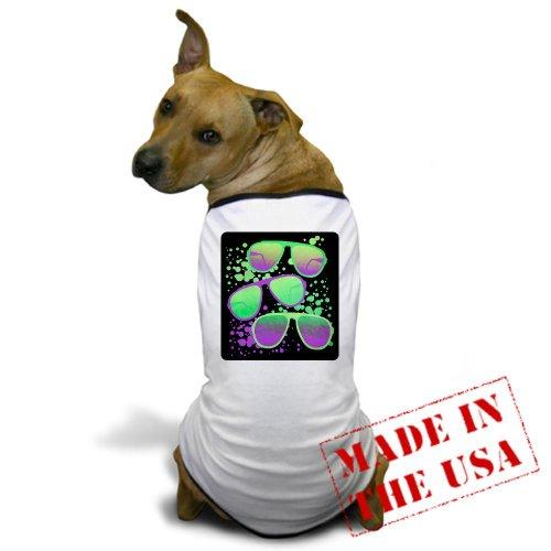 Artsmith, Inc. Dog T-Shirt 80s Sunglasses (Fashion Music Songs Clothes) - Small