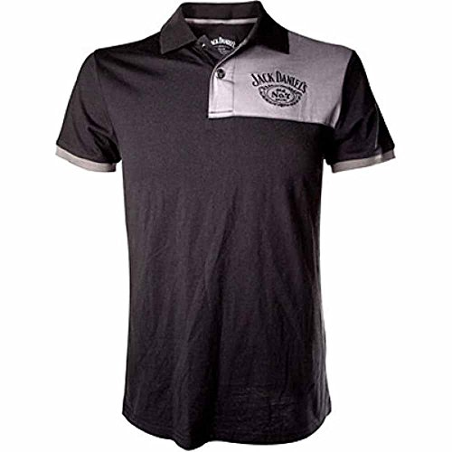 Jack Daniel Grey Patch Logo-Polo Uomo    nero X-Large