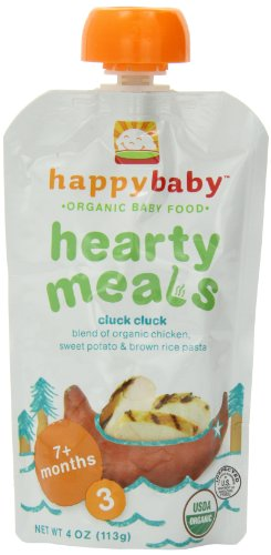 Happy Baby Stage 3 Organic Baby Food, Hearty Meals/Cluck Cluck, 4 Ounce (Pack of 16)