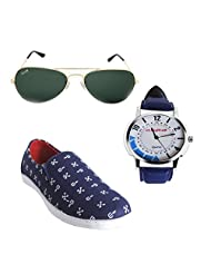 Elligator Stylish Blue Canvas Shoes & Watch With Elligator Sunglass For Men's