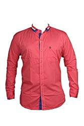 Zedx casual long sleeve Solid/plain single cuff Dark pink shirt for Men's