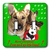 Sandy Mertens Christmas Dog Designs - Christmas German Shepherd and Friend - Light Switch Covers - double toggle switch ~ 3dRose
