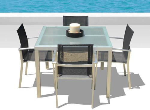 5 Pc Capri New Outdoor Patio Furniture Aluminum and tempered glass Dining Table Set and Arm Chairs
