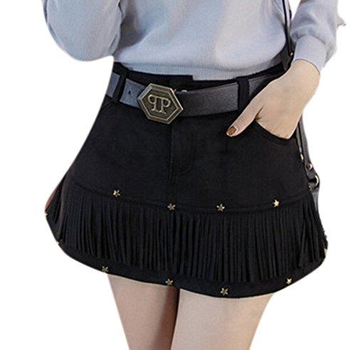 Youtobin-Womens-Causal-Suede-Leather-Tassel-Fringe-Mini-A-Line-Skater-Skirt