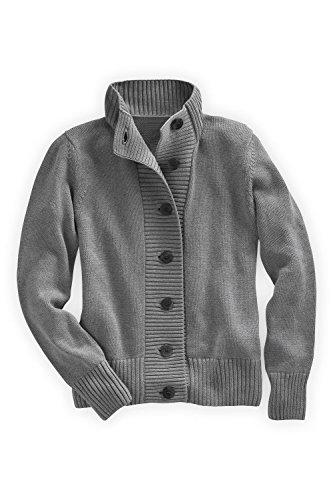 Fair Indigo Every Day Fair Trade Cardigan (S, Grey Heather) front-313828