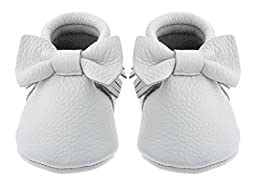 Sayoyo Baby White Bow Tassels Soft Sole Leather Infant Toddler Prewalker Shoes (18-24 months, White)